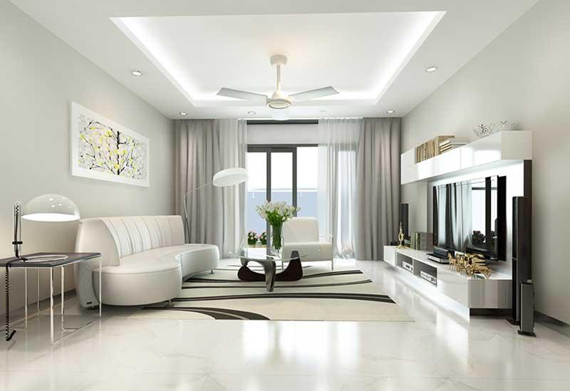 Phong cách thiết kế nội thất hiện đại lấy gam màu trung tính làm nền tảng.