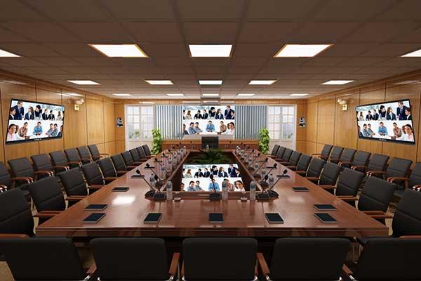 Các mảng tường trong thiết kế phòng họp trực tuyến