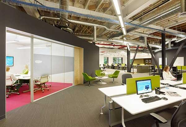 Thiết kế văn phòng làm việc không gian mở với ý tưởng táo bạo