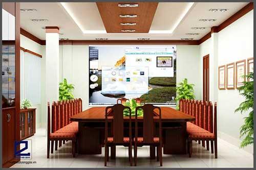 Chú trọng những mảng xanh khi trang trí phòng họp đẹp diện tích nhỏ