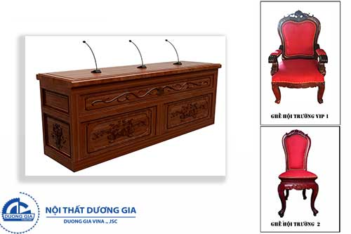 Mẫu bàn ghế hội trường bằng gỗ tự nhiên cao cấp BGHT-GTN02