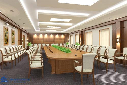 Giá bộ bàn ghế gỗ phòng họp phụ thuộc vào chất liệu