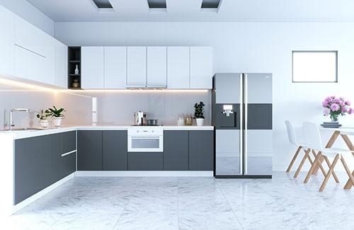 Cách trang trí phòng bếp nhỏ: Dùng nội thất hiện đại