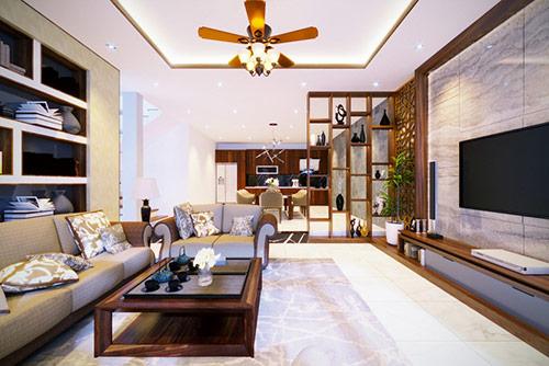 Một số cách trang trí vách ngăn phòng khách và cầu thang đẹp